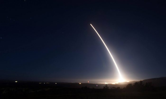 An unarmed U.S. Air Force Minuteman III intercontinental ballistic missile (ICBM) test-launch was aborted. (U.S. Air Force)