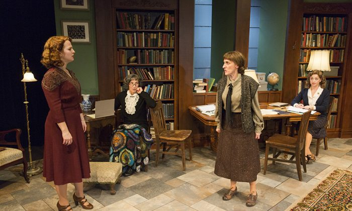 (L–R) Emily Walton, Dee Pelletier, Aedin Maloney and Kate Middleton play teachers in an all-women cast. (Richard Termine)