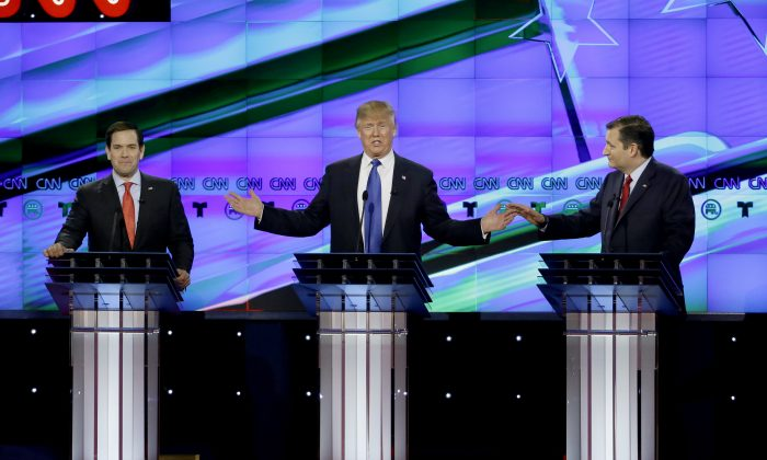 (L-R) Republican presidential candidates Sen. Marco Rubio, (R-Fla.), businessman Donald Trump, and Sen. Ted Cruz (R-Texas) at a Republican presidential primary debate at The University of Houston on Feb. 25, 2016. (AP Photo/David J. Phillip)