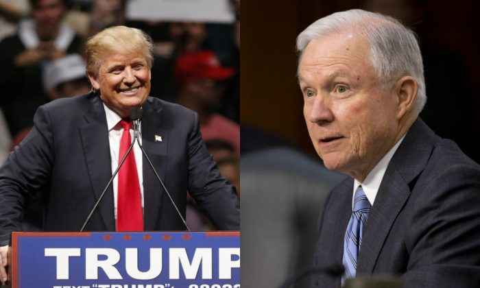 Left: Republican presidential candidate Donald Trump in Oklahoma City, Friday, Feb. 26, 2016. (AP Photo/Sue Ogrocki) Right: Sen. Jeff Sessions, R-Alabama on Capitol Hill in Washington, Wednesday, Jan. 28, 2015. (AP Photo/Jacquelyn Martin)
