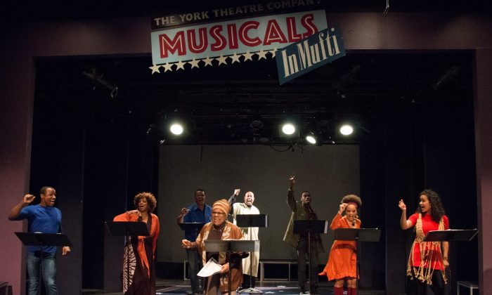 "(L–R) Devin L. Roberts, Marva Hicks, Raun Ruffin, Tina Fabrique, Doug Eskew, Jelani Alladin, Debra Walton and Darilyn Castillo in this concert version  of  ""Don't Bother Me, I Can't Cope""  at The York Theatre Company.   (Ben Strothmann)"