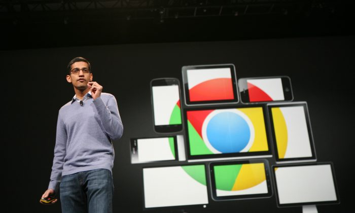 Sundar Pichai, senior vice president of Chrome, speaks at Google's annual developer conference, Google I/O, in San Francisco on June 28, 2012. AFP PHOTO/Kimihiro Hoshino (KIMIHIRO HOSHINO/AFP/GettyImages)