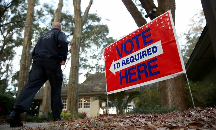 A South Carolina voter walks into the polling station at the Spanish Wells Golf Club to vote in the Republican primary in Hilton Head Island on Feb. 20, 2016. (Win McNamee/Getty Images)