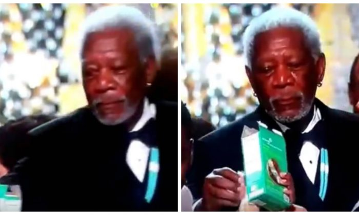 Morgan Freeman enjoying a biscuit. (YouTube)
