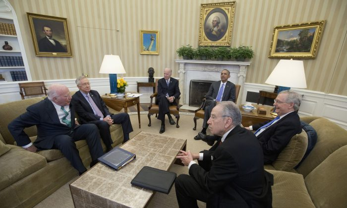 (L-R) Senate Judiciary Committee's ranking member Sen. Patrick Leahy (D-Vt.), Senate Minority Leader Sen. Harry Reid of Nev., Vice President Joe Biden, President Barack Obama, Senate Majority Leader Mitch McConnell of Ky., and Senate Judiciary Committee Chairman Sen. Chuck Grassley (R-Iowa) meet in the Oval Office of the White House in Washington, D.C., March 1, 2016, to discuss the vacancy in the Supreme Court. Senate Republican leaders are vowing to block the president's Supreme Court nominee, no matter who it is, with the hope of keeping the seat open for a Republican president to fill next year. (AP Photo/Carolyn Kaster)