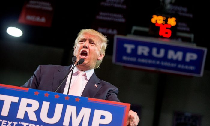 Republican presidential candidate Donald Trump speaks at a rally at Valdosta State University in Valdosta, Ga., Monday, Feb. 29, 2016. (AP Photo/Andrew Harnik)