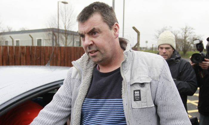 Seamus Daly leaves Maghaberry Prison, in Ballinderry, Northern Ireland, on March, 1, 2016. The Real IRA veteran accused of murdering 29 people in Omagh had all charges dropped Tuesday after prosecutors concluded that the evidence against him—particularly a witness supposed to place him in the Northern Ireland town that day—was too weak. Seamus Daly has spent nearly two years in prison awaiting trial for the Aug. 15, 1998, car bomb attack on a crowd of shoppers, workers and tourists. (AP Photo/Peter Morrison)