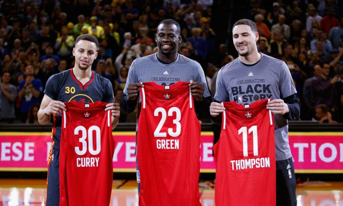Stephen Curry (L), Draymond Green (C), and Klay Thompson are a big part of Golden State's success. (Ezra Shaw/Getty Images)