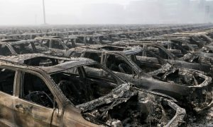 Cars Damaged in Tianjin Explosions Refurbished for Sale