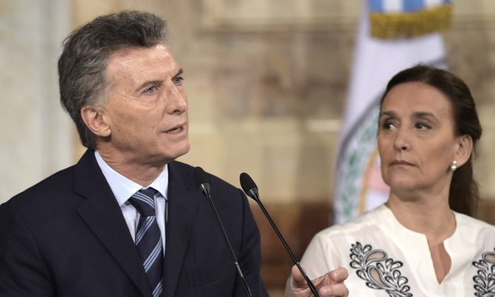Argentine President Mauricio Macri (L) delivers a speech next to Vice President Gabriela Michetti during the inauguration of the 134th period of ordinary sessions at the Congress in Buenos Aires, Argentina, on March 1, 2016. (Juan Mabromata/AFP/Getty Images)