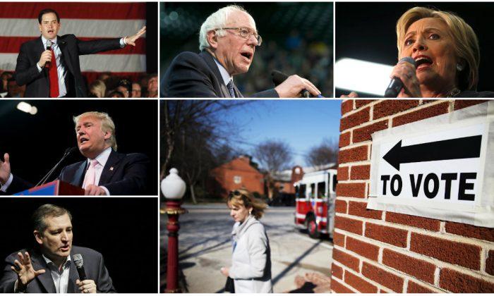 Clockwise from bottom left:  Sen. Ted Cruz, Feb. 29, 2016, in Houston. (AP Photo/Pat Sullivan) Donald Trump in Valdosta, Ga., Feb. 29, 2016. (AP Photo/Andrew Harnik) Sen. Marco Rubio, March 1, 2016, in Andover, Minn. (AP Photo/Jim Mone) Sen. Bernie Sanders in Fort Collins, Colo., Feb. 28, 2016. (AP Photo/Jacquelyn Martin) Hillary Clinton in Norfolk, Va., Feb. 29, 2016. (AP Photo/Gerald Herbert) A voter leaves a polling site for Georgia's primary election at a firehouse Tuesday, March 1, 2016, in Atlanta. (AP Photo/David Goldman)