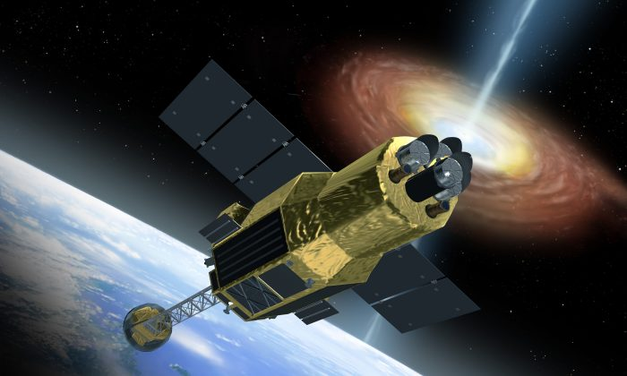 An artist's impression of the ASTRO-H telescope. (JAXA/Akihiro Ikeshita)