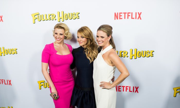 Actresses Candace Cameron-Bure, Jodie Sweetin, and Andrea Barber attend the premiere of Netflix's 'Fuller House' at Pacific Theatres at The Grove on February 16, 2016 in Los Angeles, California. (Emma McIntyre/Getty Images)