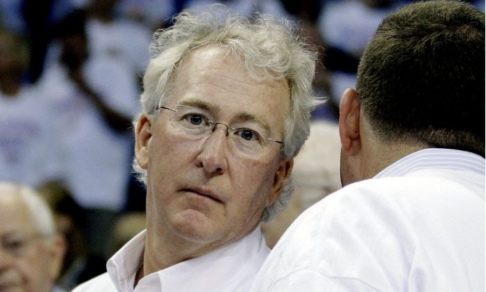 Chesapeake Energy Corp. CEO Aubrey McClendon at Game 6 of the NBA basketball Western Conference finals, in Oklahoma City, on June 6, 2012. (AP Photo/Sue Ogrocki)