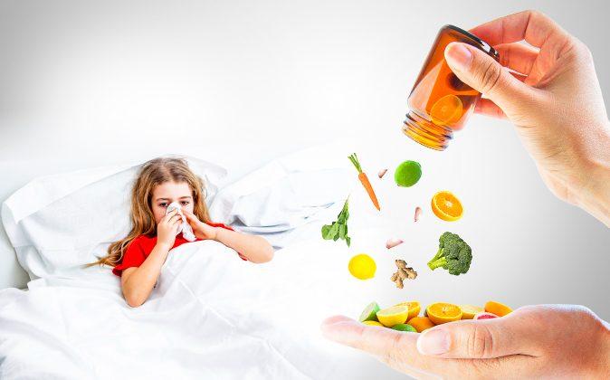 Cristian_ph (Girl); Charlieaja (Hand & Fruits); Affzan (Ginger); Ajt (Carrot); Karandaev (Garlic); Maonakub (Broccoli); Chengyuzheng/Istock (Spinach); Illustration/Epoch Times