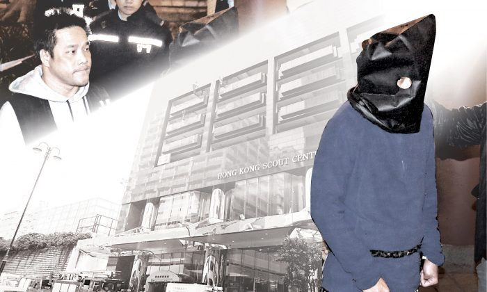 Composition photo of the reconstruction of the bomb hoax at the BP International Hotel, Kowloon. (Epoch Times)