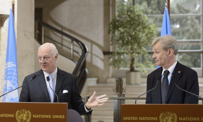 Staffan de Mistura (L) UN Special Envoy of the Secretary-General for Syria, and Jan Egeland (R) Senior Advisor to the United Nations Special Envoy for Syria, speak  at the European headquarters of the United Nations, in Geneva, Switzerland, on Thursday, March 3, 2016. (Martial Trezzini/Keystone via AP)