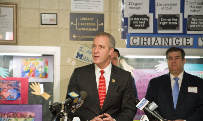 Rep. Sean Patrick Maloney speaks at a press conference in Maple Hill Elementary School in MIddletown on March 4, 2016 about legislation he is introducing to reclassify swatting as domestic terrorism. (Holly Kellum/Epoch Times)