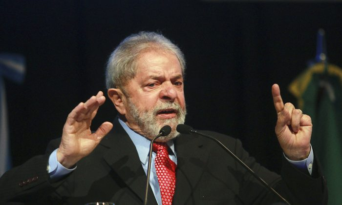 "Former Brazilian President Luiz Inacio ""Lula"" da Silva delivers speech at the third International Congress of Social Responsibility in Buenos Aires on Sept. 10, 2015. (Hugo Villalobos/AFP/Getty Images)"