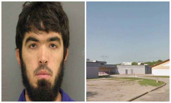 Jeremy Eusea in a booking photo, and a file photo of Hahnville High School. (St. Charles Parish Sheriff's Office; Google Maps)