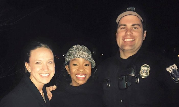Officer Paul Rogerson with his wife and Gladys Knight. (Pleasant Grove Police Department)