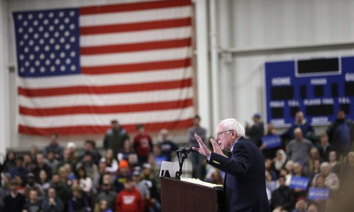 Democratic presidential candidate Sen. Bernie Sanders (I-Vt.) speaks at a rally at the Macomb Community College in Warren, Mich., on March 5, 2016. (AP Photo/Carlos Osorio)