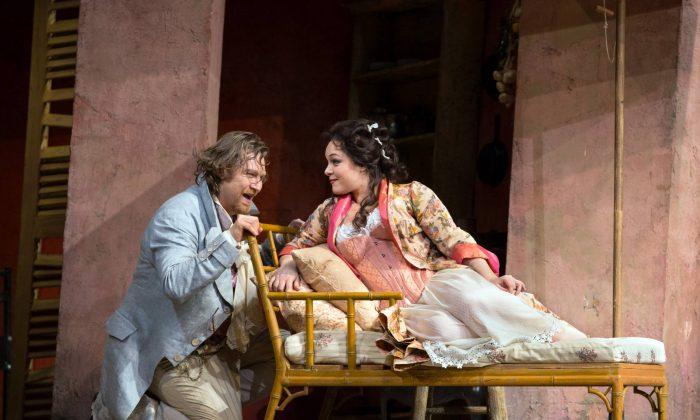 Levente Molnár as Dr. Malatesta and Eleonora Burrato as Norina in Donizetti's Don Pasquale. (Marty Sohl/Metropolitan Opera)