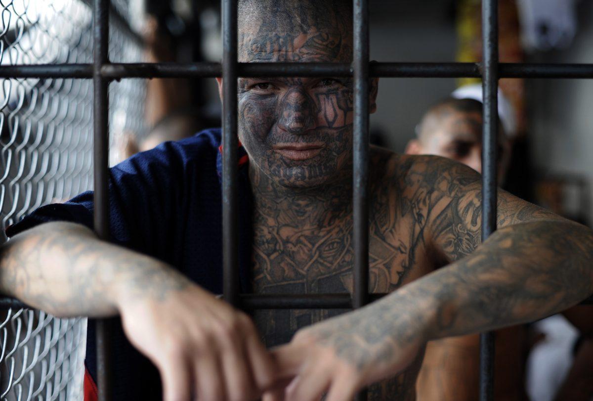 A Mara Salvatrucha (MS-13) gang member at the prison of Ciudad Barrios, 100 miles east of San Salvador, El Salvador, on June 19, 2012. (Jose Cabezas/AFP/GettyImages)
