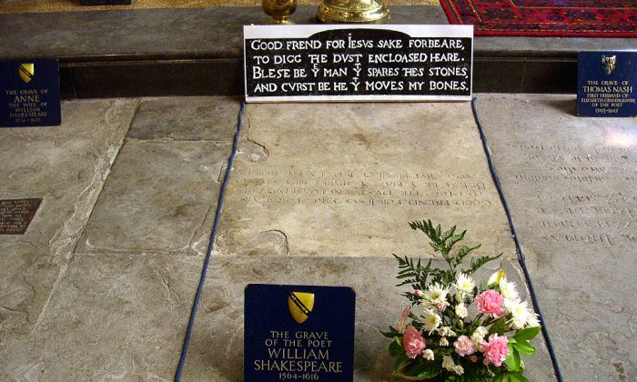 William Shakespeare's grave at Holy Trinity Church in Stratford-on-Avon, England. (David Jones/CC BY 2.0)