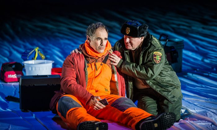 "(L–R) New to ice fishing, Ron (Mark Rylance) learns he needs a license from a Department of Natural Resources official (Bob Davis) in the whimsical new play ""Nice Fish."" (Teddy Wolff)"