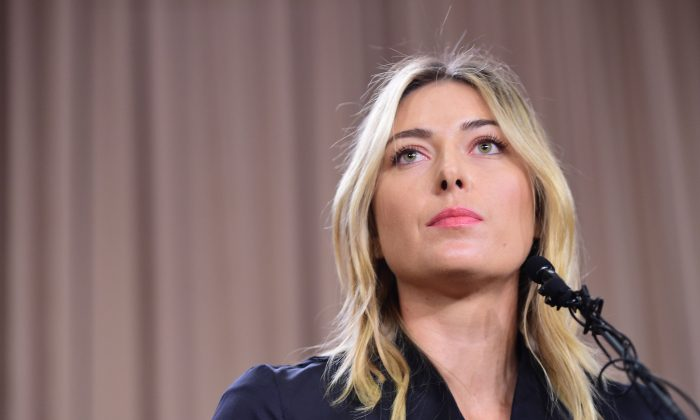 Russian tennis player Maria Sharapova at a press conference in downtown Los Angeles, on March 7, 2016. (ROBYN BECK/AFP/Getty Images)