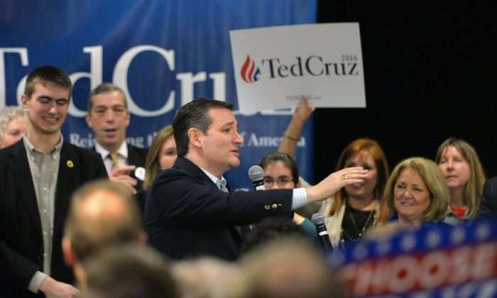 Republican presidential candidate Sen. Ted Cruz, R-Texas, speaks during a campaign rally on March 7, 2016, in Grand Rapids, Mich. (AP Photo/Joe Raymond)