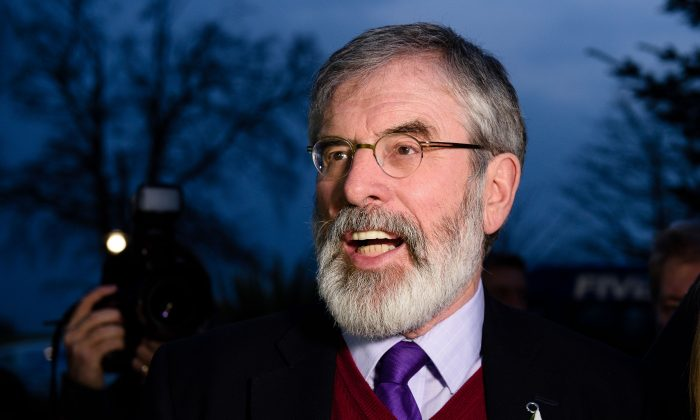 Sinn Fein leader Gerry Adams speaks to the media as he arrives at the Lotuh Count in Dundalk, Ireland, on Feb. 27, 2016, the day after the vote took place in a general election in Ireland. Voters punished Ireland's coalition government and boosted smaller parties in the first election since emerging from a bailout program, raising the prospect of weeks of uncertainty in the eurozone country. Sinn Fein were set to increase their seats to become the third largest group in parliament, continuing an upward trend in support for the party led by Gerry Adams. (Leon Neal/AFP/Getty Images)