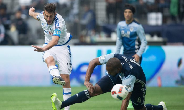 Montreal Impact's Ignacio Piatti scores a fantastic goal in Vancouver on March 6, 2016. The Impact handed the Whitecaps a second straight opening day home loss to a Canadian team. (The Canadian Press/Darryl Dyck)