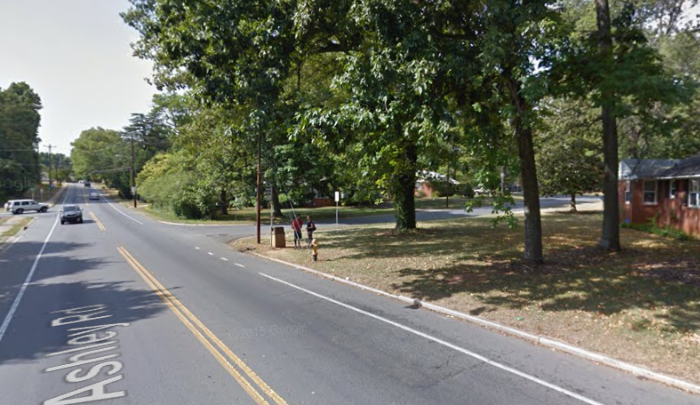 A file photo of a bus stop on Ashley Road in Charlotte, North Carolina. (Google Maps)