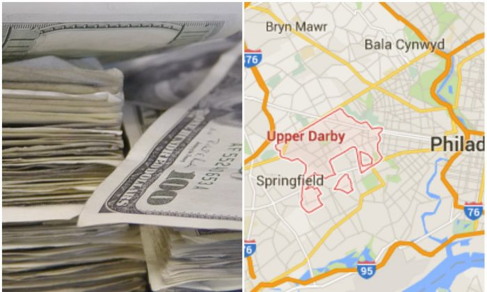 Left: Stacks of dollar bills. (Damian Gadal/CC BY 2.0) Right: Upper Darby, Pa. (Screenshot of Google Maps)