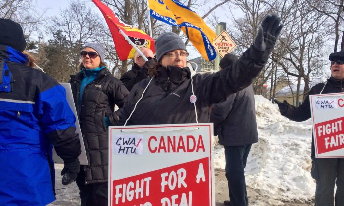 Journalist Patricia Brooks Arenburg pickets with other union members  outside the Chronicle Herald's office in Halifax on Jan. 25, 2016, over proposals to reduce wages, lengthen working hours, shrink future pension benefits, and lay off up to 18 workers. (The Canadian Press/Aly Thomson)