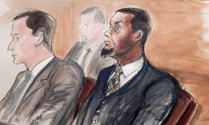 In this Feb. 24, 2016, courtroom file sketch, Tairod Nathan Webster Pugh (R) sits at the defense table with his attorney Zachary S. Taylor, during jury selection in a federal court in the Brooklyn borough of New York. Pugh, a U.S. Air Force veteran and former airplane mechanic charged with trying to join the Islamic State, was convicted by the jury on March 9, 2016. It was the first verdict to result from more than 70 cases the government has brought against U.S. citizens accused of trying to support the militant group. (AP Photo/Elizabeth Williams)
