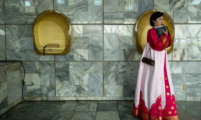 A North Korean woman in traditional dress in Pyongyang on April 13, 2012. (Jones/AFP/Getty Images)