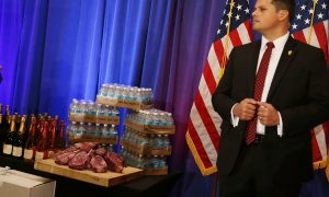 Trump Brings Steaks, Magazines, Water, and Wine to Victory Press Conference
