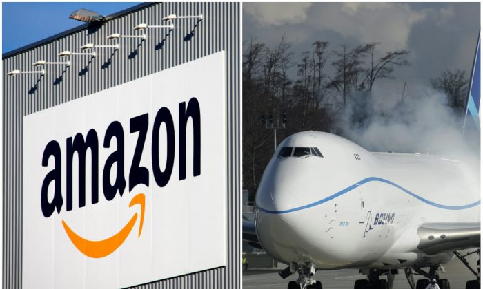 Left: The Amazon logistics center in Lauwin-Planque, northern France, on Sept. 19, 2013. (AP Photo/Michel Spingler) Right: Engines on the Boeing 747-8 Freighter are started just prior to the plane's first flight, in Everett, Wash., Feb. 8, 2010. (AP Photo/Ted. S Warren)