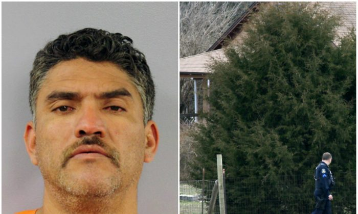 Left: Pablo Serrano-Vitorino. The Mexican national suspected of killing his neighbor and three other men at his neighbor's Kansas home before killing another man about 170 miles away in Missouri was arrested early Wednesday, March 9, 2016, authorities said. (Montgomery County Jail via AP) Right: Police walk near a house where a man was found murdered on Tuesday, March 8, 2016, near New Florence, Mo. (Cristina Fletes/St. Louis Post-Dispatch via AP)