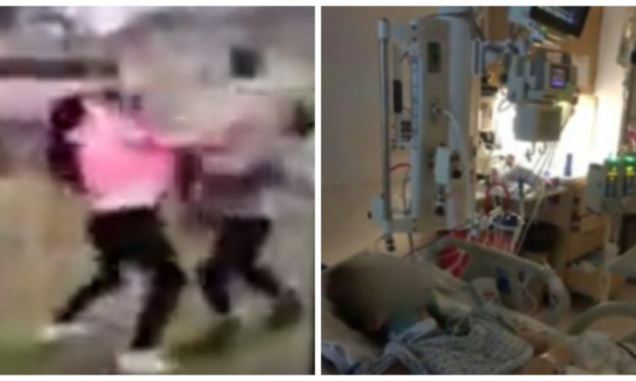 A screenshot of the fight video, left; and Maddie, the victim, in the hospital. (YouTube; Family Photo)