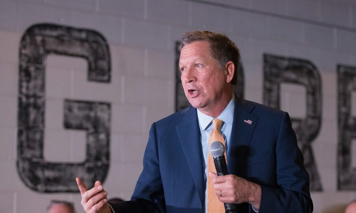 Republican presidential candidate Ohio Gov. John Kasich speaks at a campaign rally at the Lansing Brewing Company in Lansing, Mich., on March 8, 2016. (Scott Olson/Getty Images)