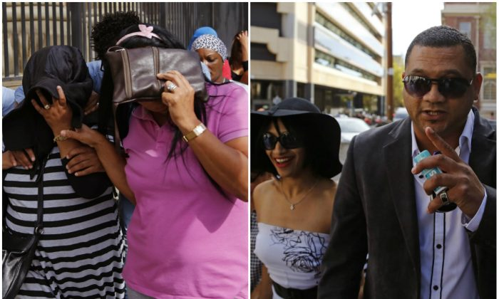 Family members of a woman suspected of kidnapping a baby 17 years ago leave the court in Cape Town, South Africa, March 6, 2015; (L-R) Celeste and Morne Nurse, parents of the kidnapped girl arrive at court, March 6, 2015. (AP Photo/Schalk van Zuydam)