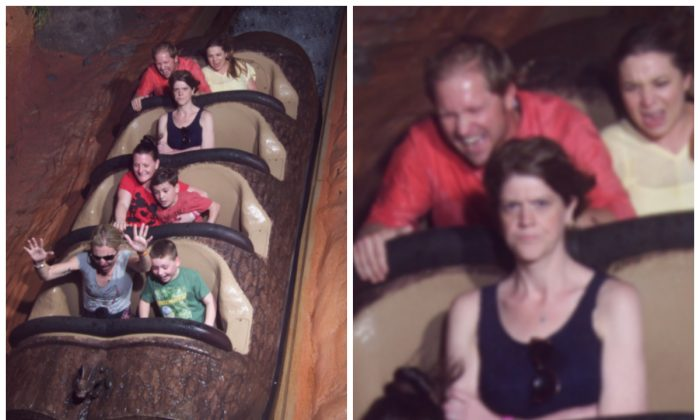 The angry woman on the Splash Moutain ride at Disney World. (Reddit)