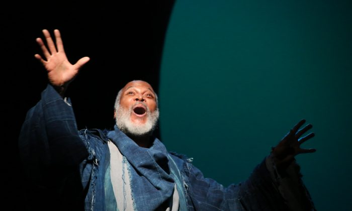 "Storyteller Gower (Raphael Nash Thompson) narrates ""Pericles,"" a story with tragic losses and miraculous reunions. (Gerry Goodstein)"