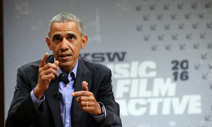 President Barack Obama speaks at the opening Keynote during the 2016 SXSW Music, Film + Interactive Festival at Long Center in Austin, Texas, on March 11, 2016. (Neilson Barnard/Getty Images for SXSW)