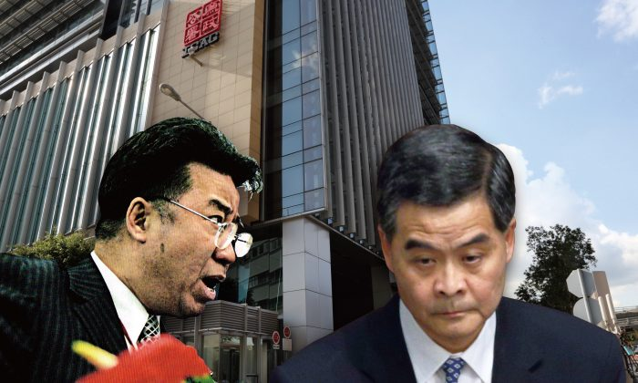 "(L-R) Lew Mon-hung ""Dream Bear"" with CY Leung. (Composed photo by Epoch Times)"