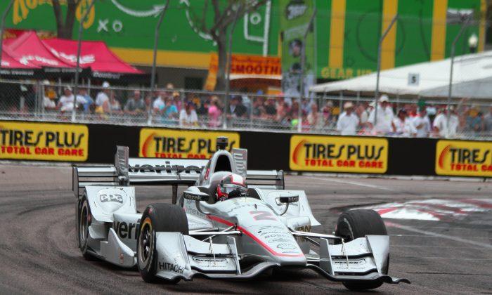 Penske Racing driver Juan Montoya led the final 44 laps of the IndyCar St. Petersburg Grand Prix, winning by 2.3 seconds. (Chris Jasurek/Epoch Times)